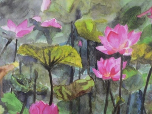 Watercolour-Lotus Pond card