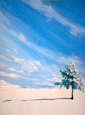painting demo-lone tree-snow