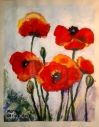 "Poppies Acrylic on paper, 11"" x 14"" $150 Acrylic on paper, 11"" x 14"" $150 In the style of C. Kremkau SOLD"
